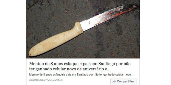 Fake News: Menino de 8 anos esfaqueia pais em Santiago …